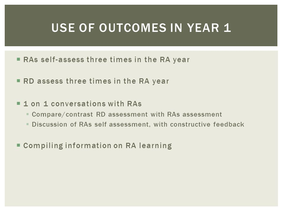 RAs self-assess three times in the RA year RD assess three times in the RA year 1 on 1 conversations with RAs Compare/contrast RD assessment with RAs