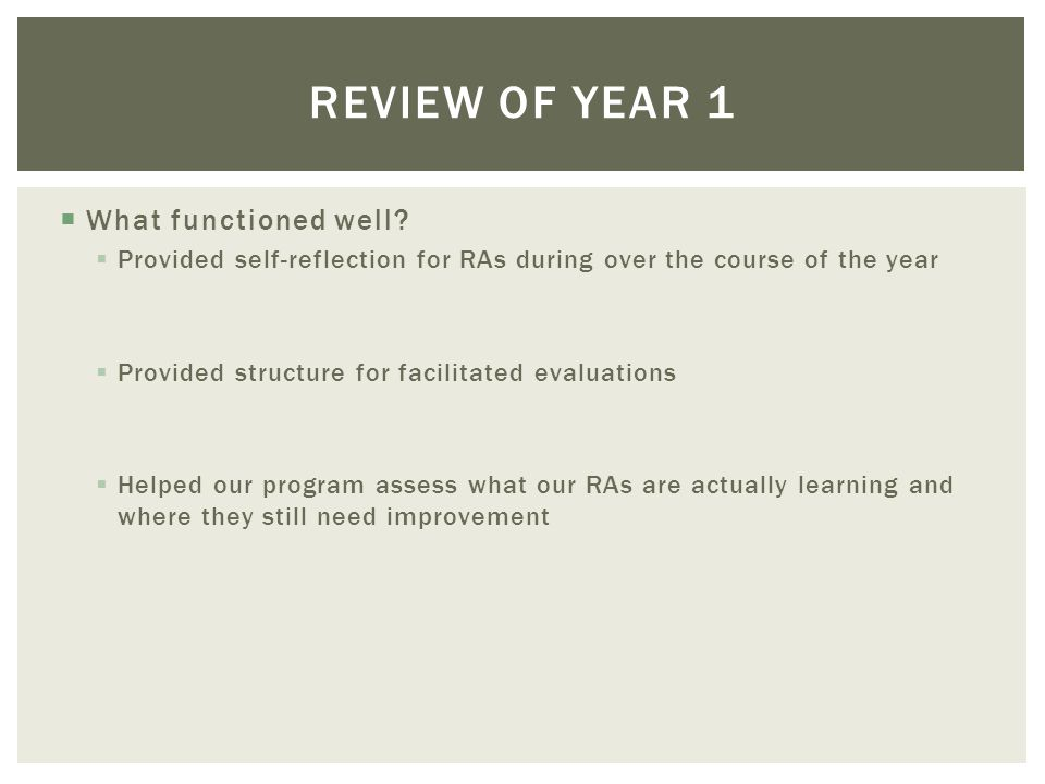 What functioned well? Provided self-reflection for RAs during over the course of the year Provided structure for facilitated evaluations Helped our pr