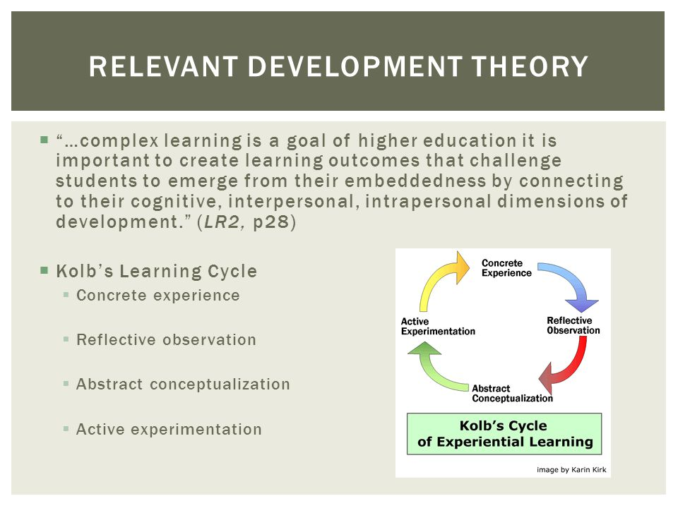 …complex learning is a goal of higher education it is important to create learning outcomes that challenge students to emerge from their embeddedness by connecting to their cognitive, interpersonal, intrapersonal dimensions of development.