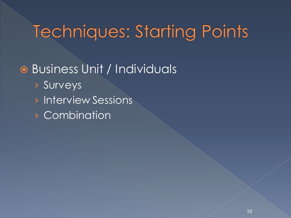10 Business Unit / Individuals Surveys Interview Sessions Combination