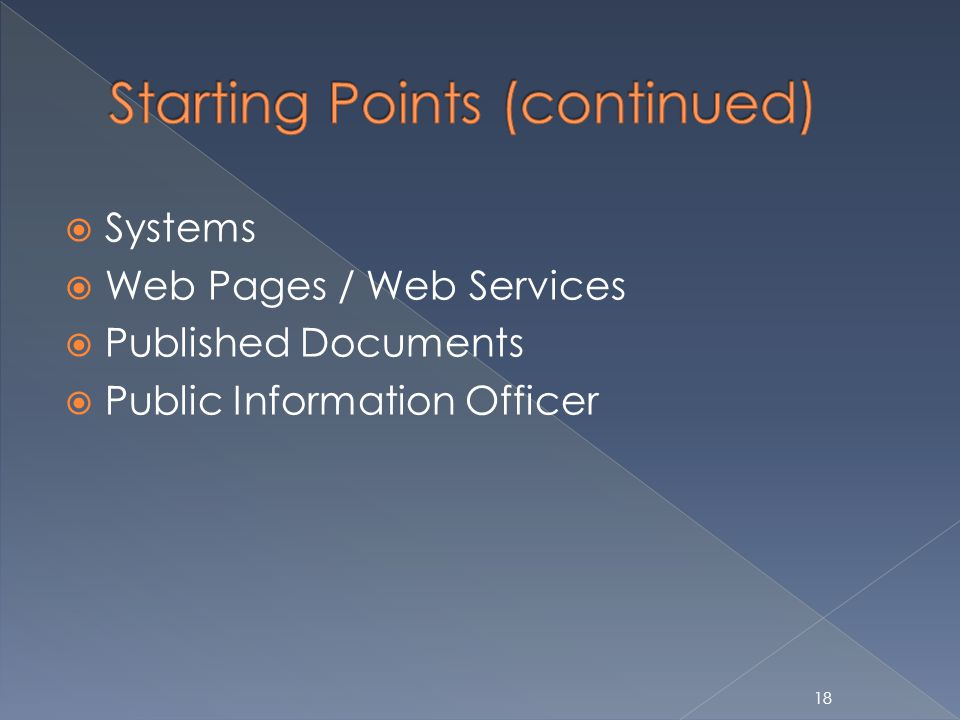 18 Systems Web Pages / Web Services Published Documents Public Information Officer