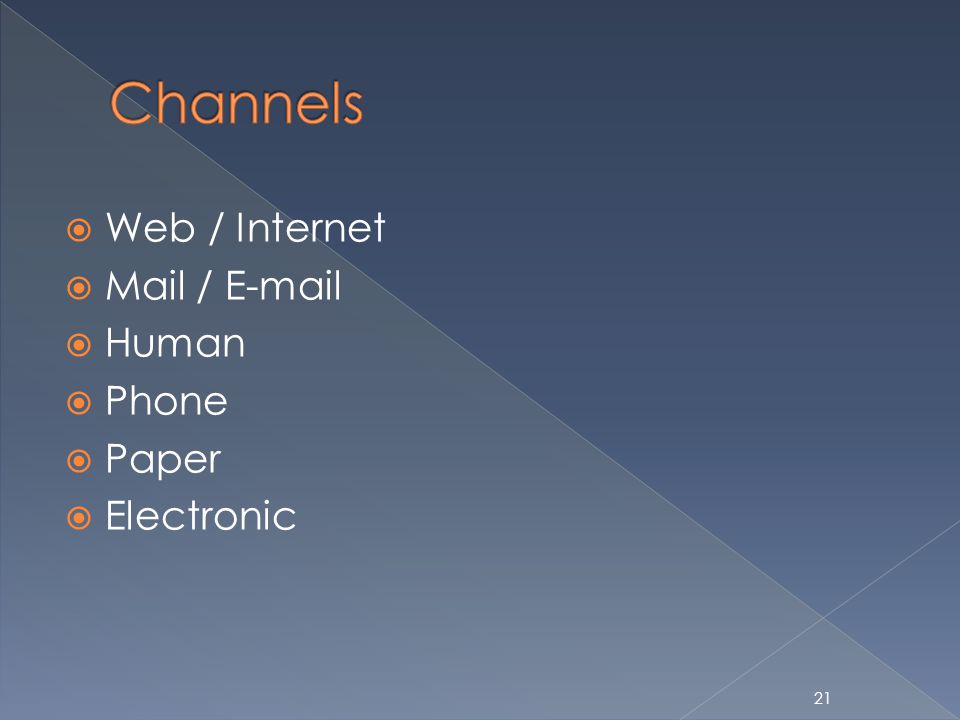 21 Web / Internet Mail / E-mail Human Phone Paper Electronic