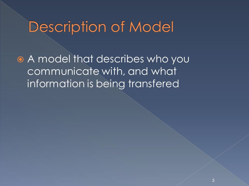 A model that describes who you communicate with, and what information is being transfered 5