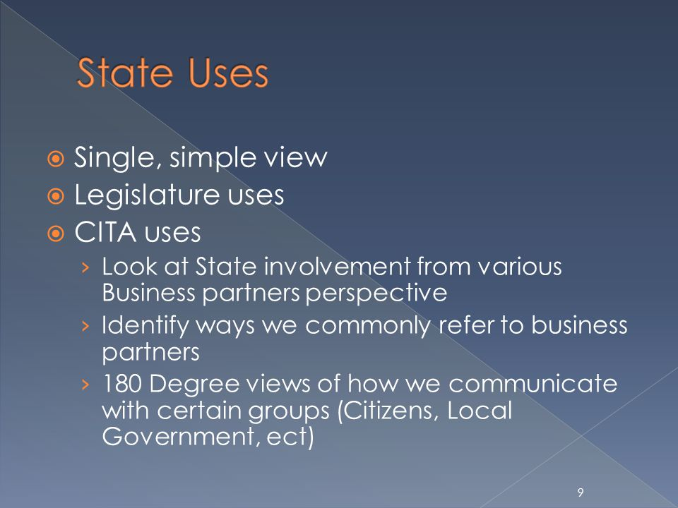 9 Single, simple view Legislature uses CITA uses Look at State involvement from various Business partners perspective Identify ways we commonly refer to business partners 180 Degree views of how we communicate with certain groups (Citizens, Local Government, ect)