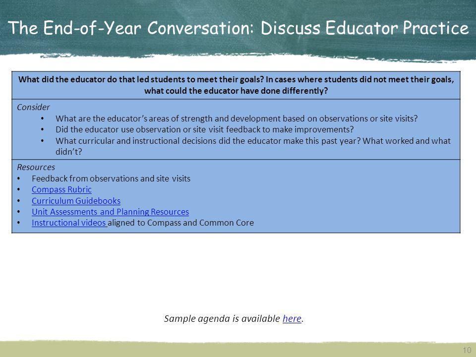 The End-of-Year Conversation: Discuss Educator Practice What did the educator do that led students to meet their goals.