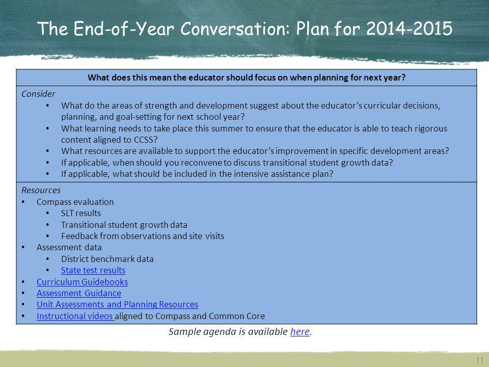 The End-of-Year Conversation: Plan for 2014-2015 What does this mean the educator should focus on when planning for next year? Consider What do the ar
