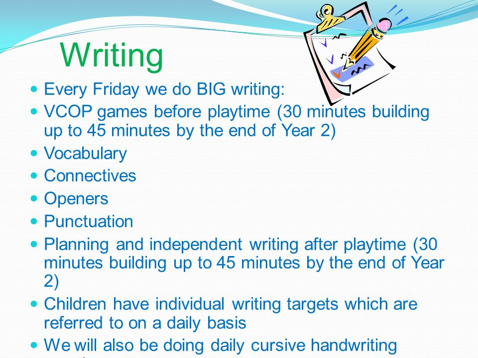 Writing Every Friday we do BIG writing: VCOP games before playtime (30 minutes building up to 45 minutes by the end of Year 2) Vocabulary Connectives Openers Punctuation Planning and independent writing after playtime (30 minutes building up to 45 minutes by the end of Year 2) Children have individual writing targets which are referred to on a daily basis We will also be doing daily cursive handwriting practice
