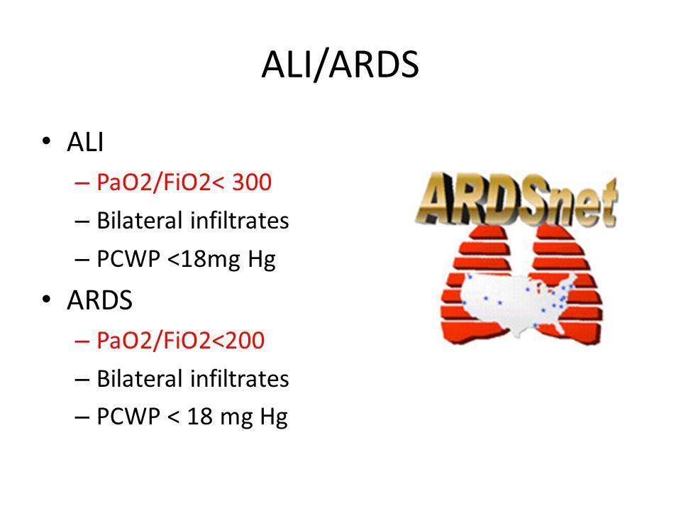 ALI/ARDS ALI – PaO2/FiO2< 300 – Bilateral infiltrates – PCWP <18mg Hg ARDS – PaO2/FiO2<200 – Bilateral infiltrates – PCWP < 18 mg Hg
