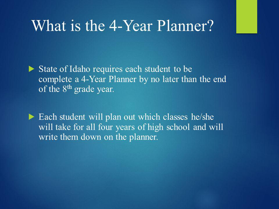 What is the 4-Year Planner? State of Idaho requires each student to be complete a 4-Year Planner by no later than the end of the 8 th grade year. Each