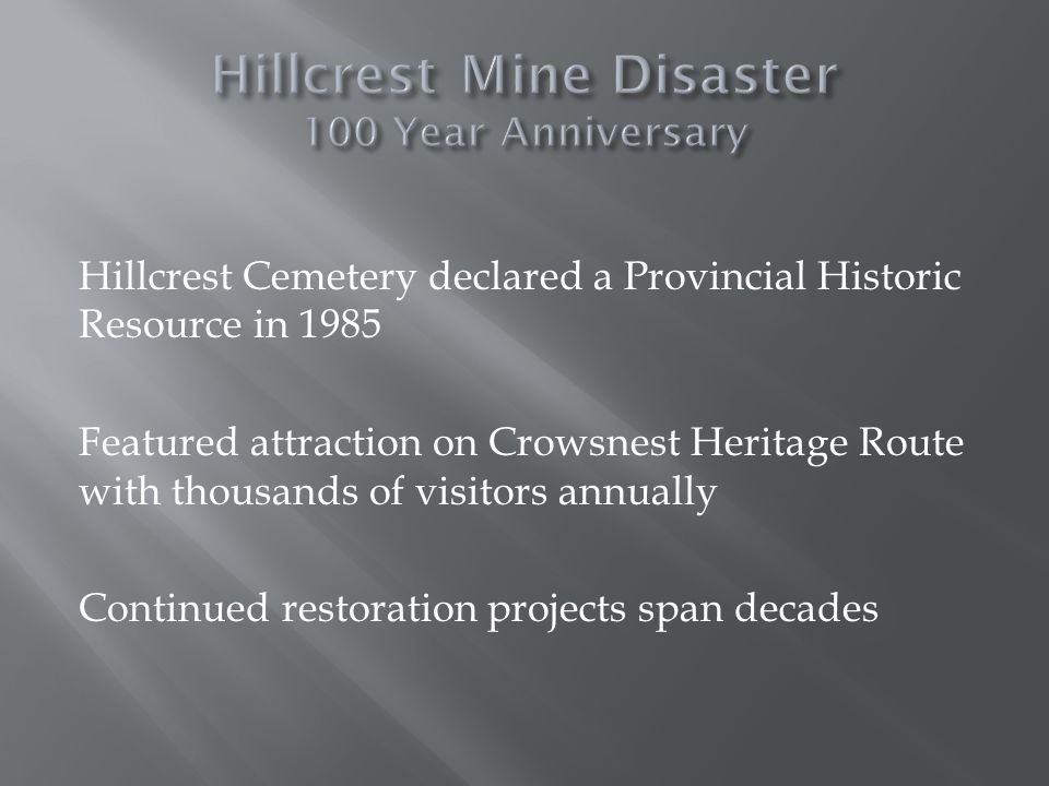 Hillcrest Cemetery declared a Provincial Historic Resource in 1985 Featured attraction on Crowsnest Heritage Route with thousands of visitors annually Continued restoration projects span decades