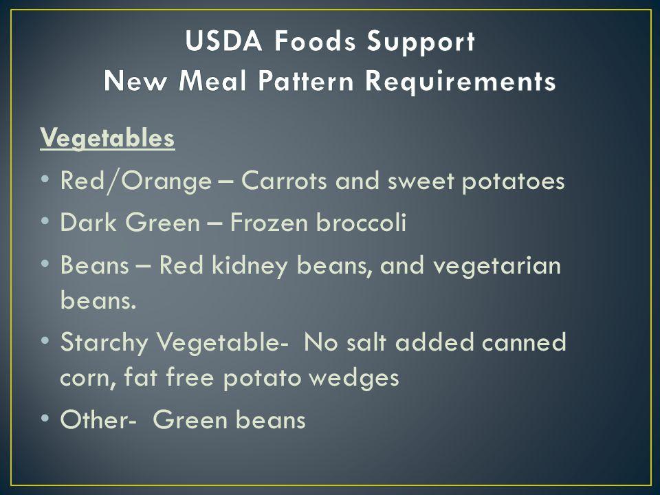 Vegetables Red/Orange – Carrots and sweet potatoes Dark Green – Frozen broccoli Beans – Red kidney beans, and vegetarian beans. Starchy Vegetable- No