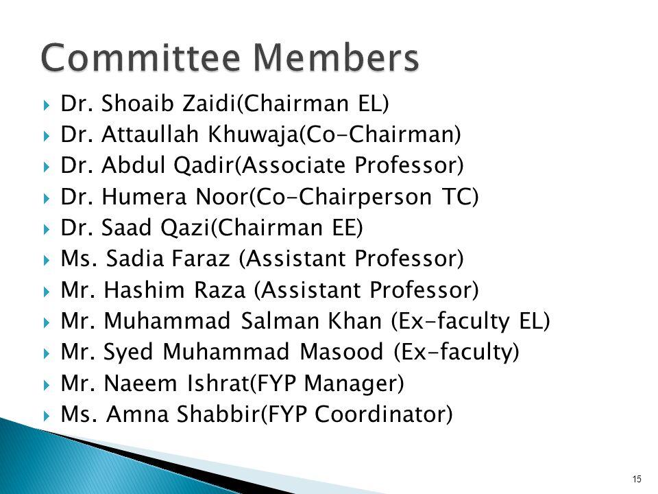 Dr. Shoaib Zaidi(Chairman EL) Dr. Attaullah Khuwaja(Co-Chairman) Dr. Abdul Qadir(Associate Professor) Dr. Humera Noor(Co-Chairperson TC) Dr. Saad Qazi