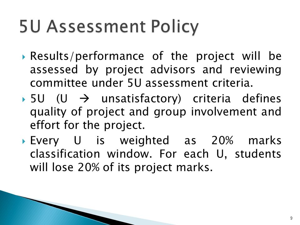 Results/performance of the project will be assessed by project advisors and reviewing committee under 5U assessment criteria.