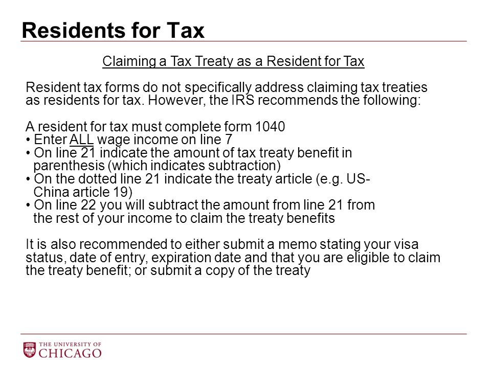 Residents for Tax Claiming a Tax Treaty as a Resident for Tax Resident tax forms do not specifically address claiming tax treaties as residents for ta