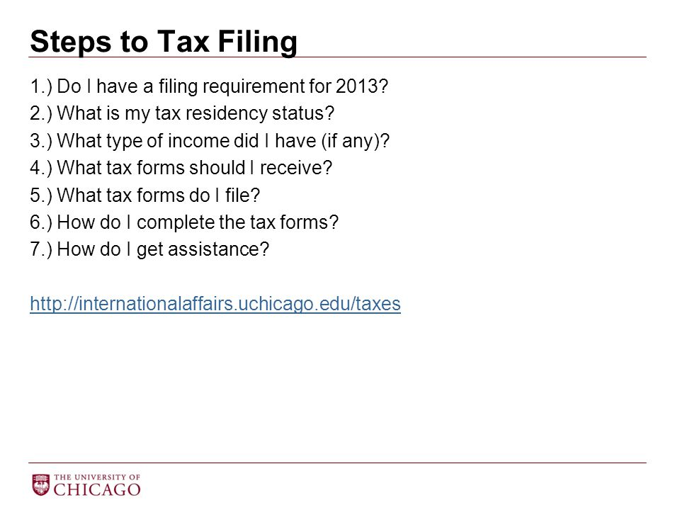 1.) Do I have a filing requirement for 2013? 2.) What is my tax residency status? 3.) What type of income did I have (if any)? 4.) What tax forms shou