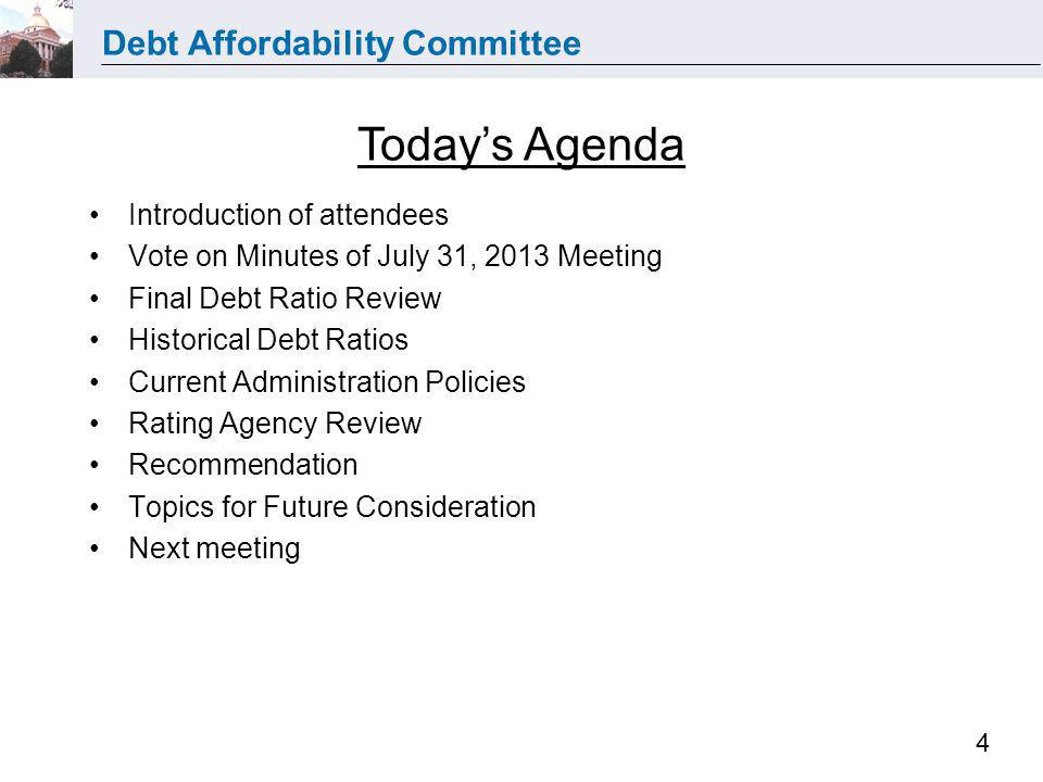 Debt Affordability Committee 15 Rating Sustainability: Stabilization Fund