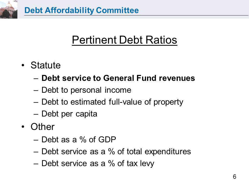 Debt Affordability Committee 6 Pertinent Debt Ratios Statute –Debt service to General Fund revenues –Debt to personal income –Debt to estimated full-v