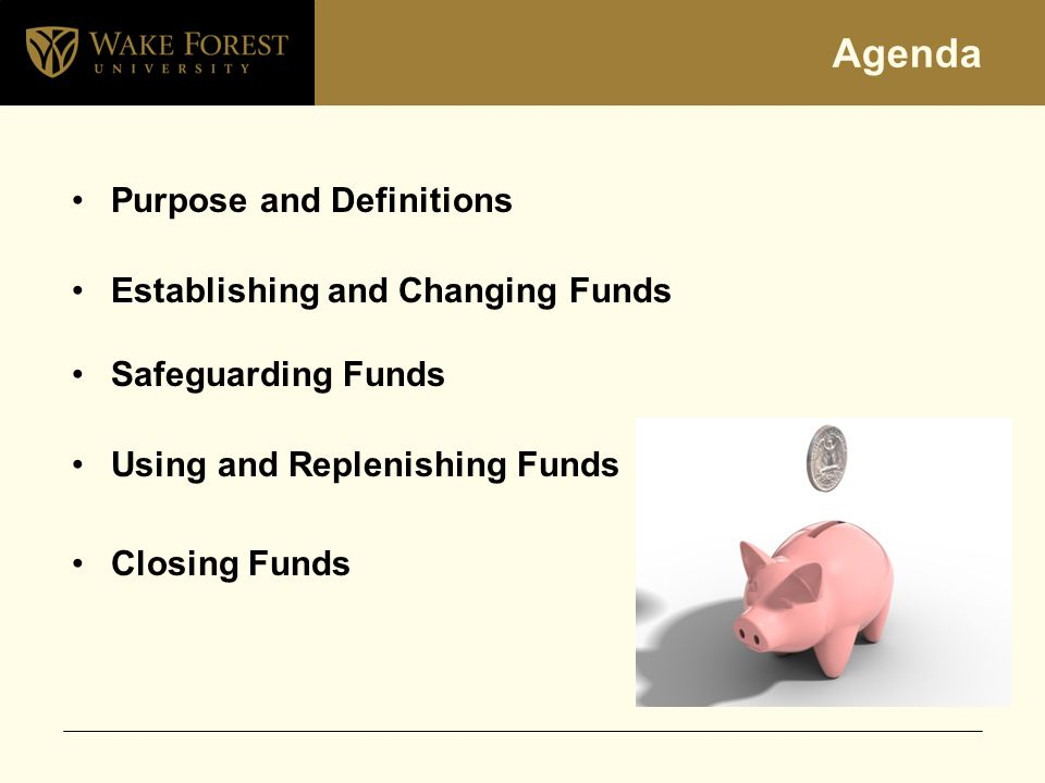 Agenda Purpose and Definitions Establishing and Changing Funds Safeguarding Funds Using and Replenishing Funds Closing Funds