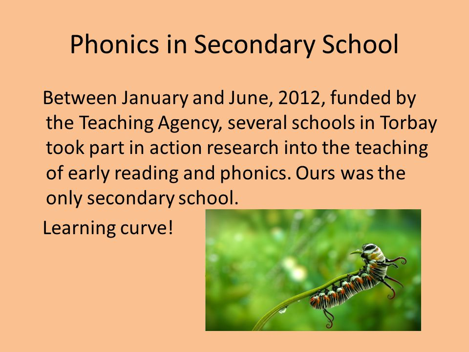 Phonics in Secondary School Between January and June, 2012, funded by the Teaching Agency, several schools in Torbay took part in action research into the teaching of early reading and phonics.