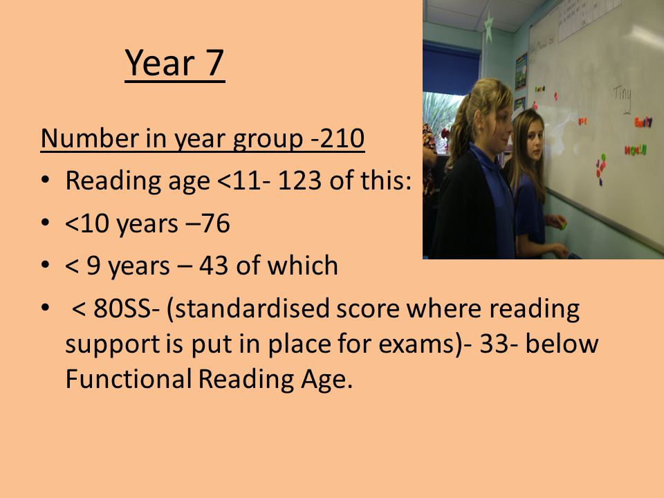 Year 7 Number in year group -210 Reading age <11- 123 of this: <10 years –76 < 9 years – 43 of which < 80SS- (standardised score where reading support is put in place for exams)- 33- below Functional Reading Age.