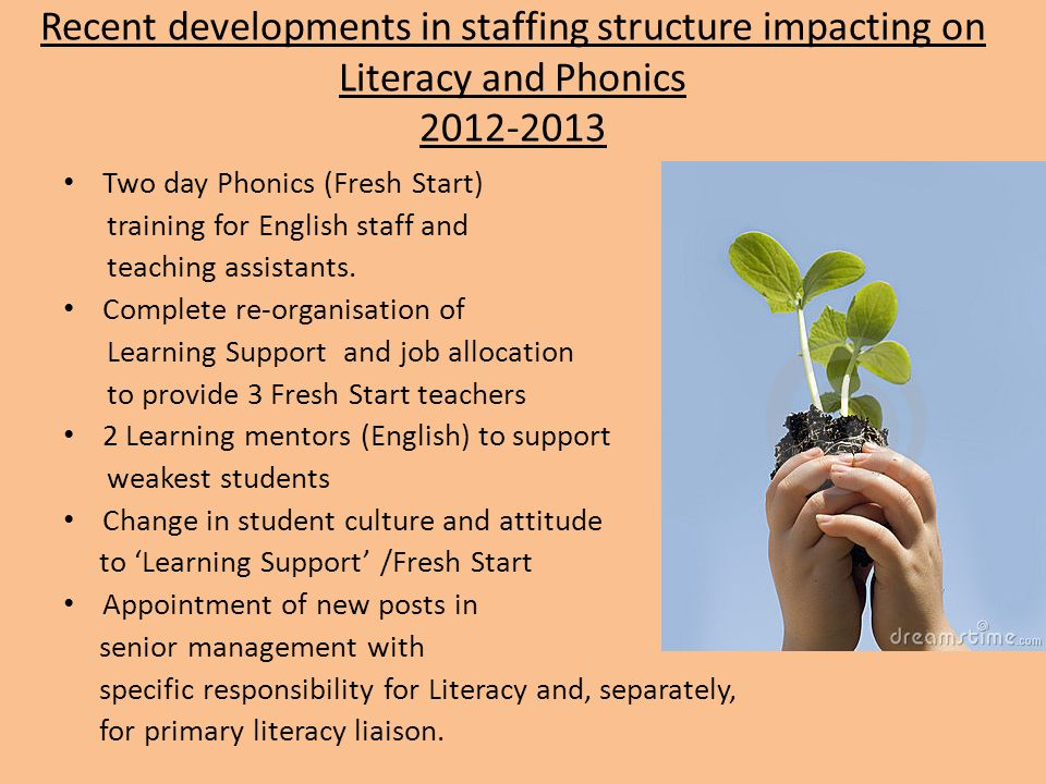 Recent developments in staffing structure impacting on Literacy and Phonics 2012-2013 Two day Phonics (Fresh Start) training for English staff and tea