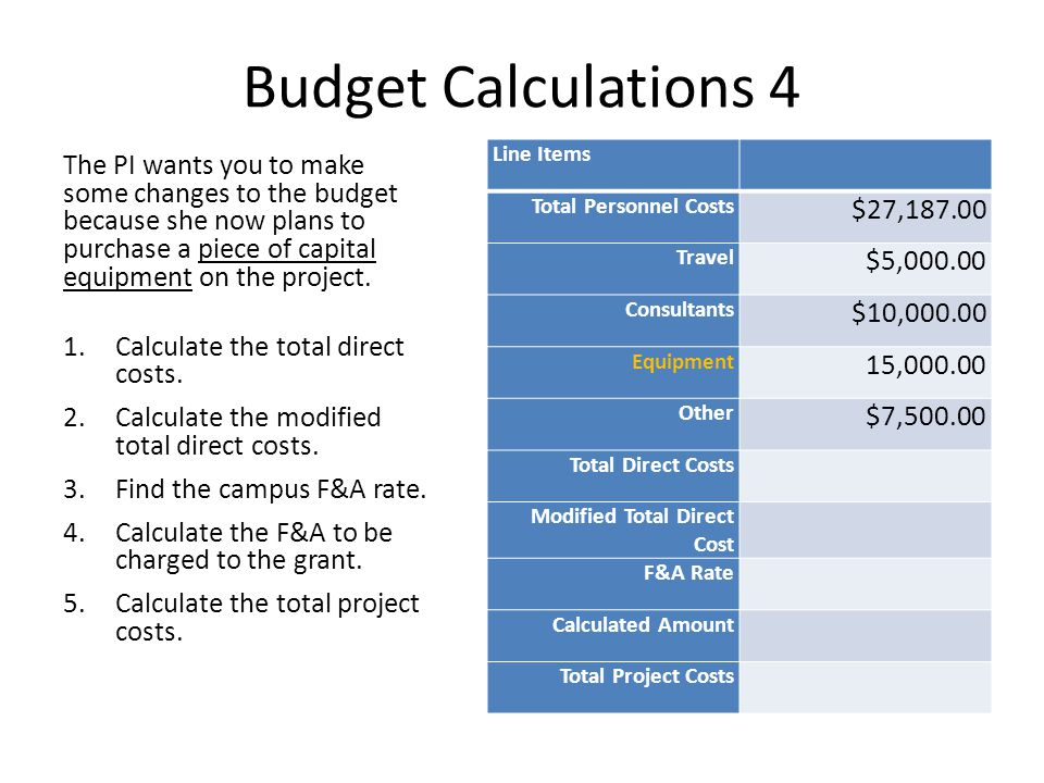 Budget Calculations 4 The PI wants you to make some changes to the budget because she now plans to purchase a piece of capital equipment on the project.