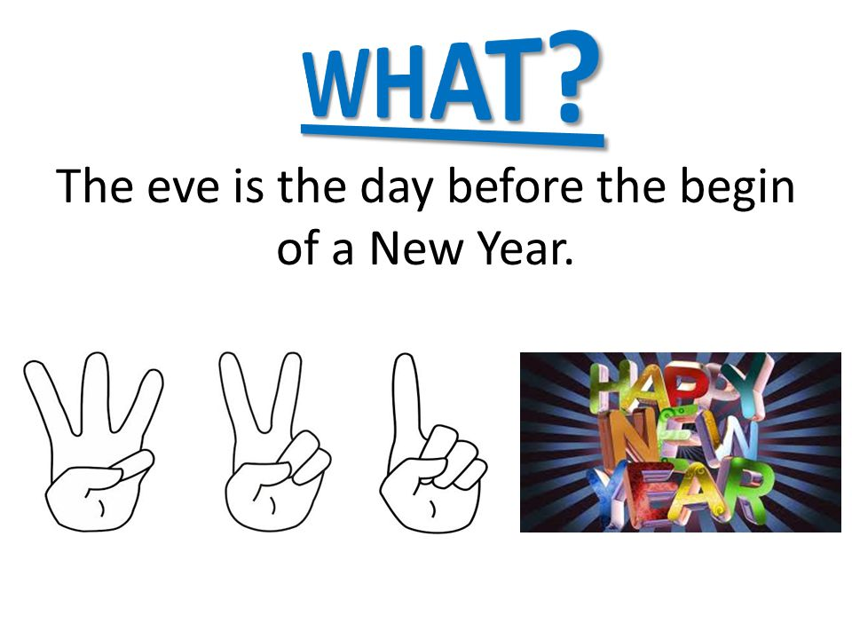 The eve is the day before the begin of a New Year.
