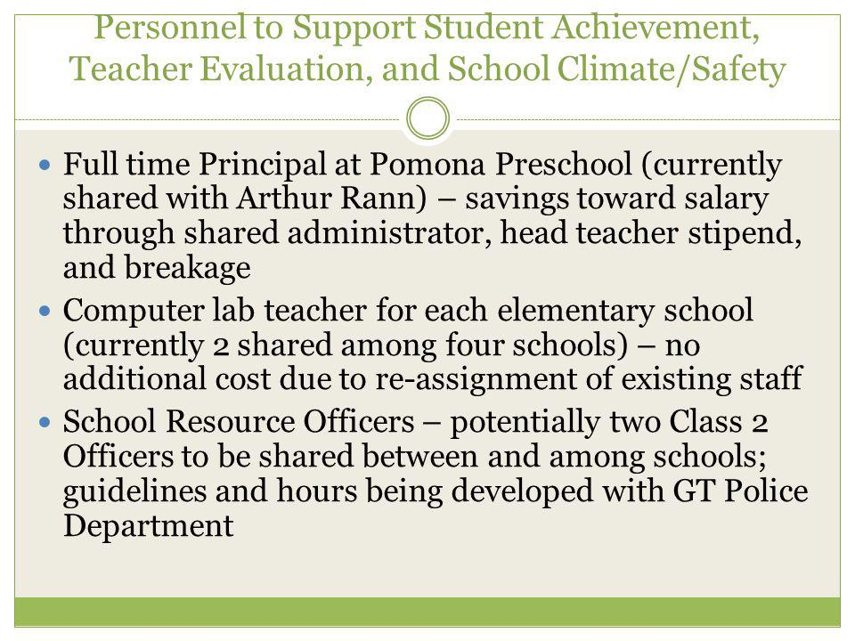 Personnel to Support Student Achievement, Teacher Evaluation, and School Climate/Safety Full time Principal at Pomona Preschool (currently shared with Arthur Rann) – savings toward salary through shared administrator, head teacher stipend, and breakage Computer lab teacher for each elementary school (currently 2 shared among four schools) – no additional cost due to re-assignment of existing staff School Resource Officers – potentially two Class 2 Officers to be shared between and among schools; guidelines and hours being developed with GT Police Department