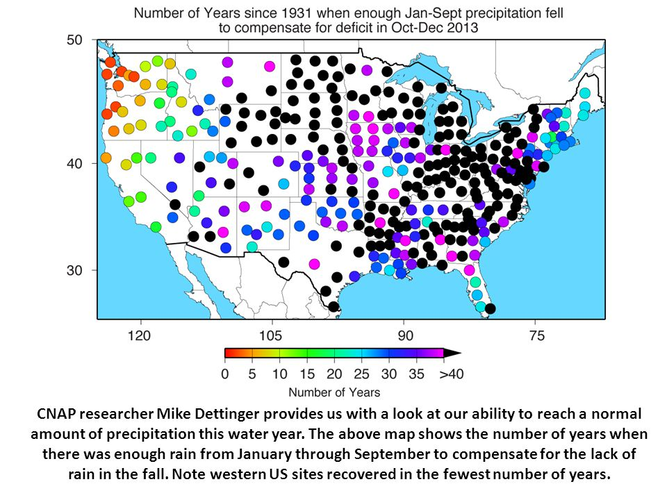CNAP researcher Mike Dettinger provides us with a look at our ability to reach a normal amount of precipitation this water year. The above map shows t