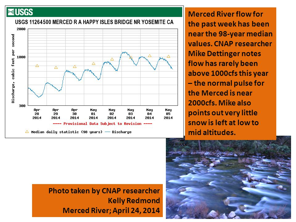 Photo taken by CNAP researcher Kelly Redmond Merced River; April 24, 2014 Merced River flow for the past week has been near the 98-year median values.