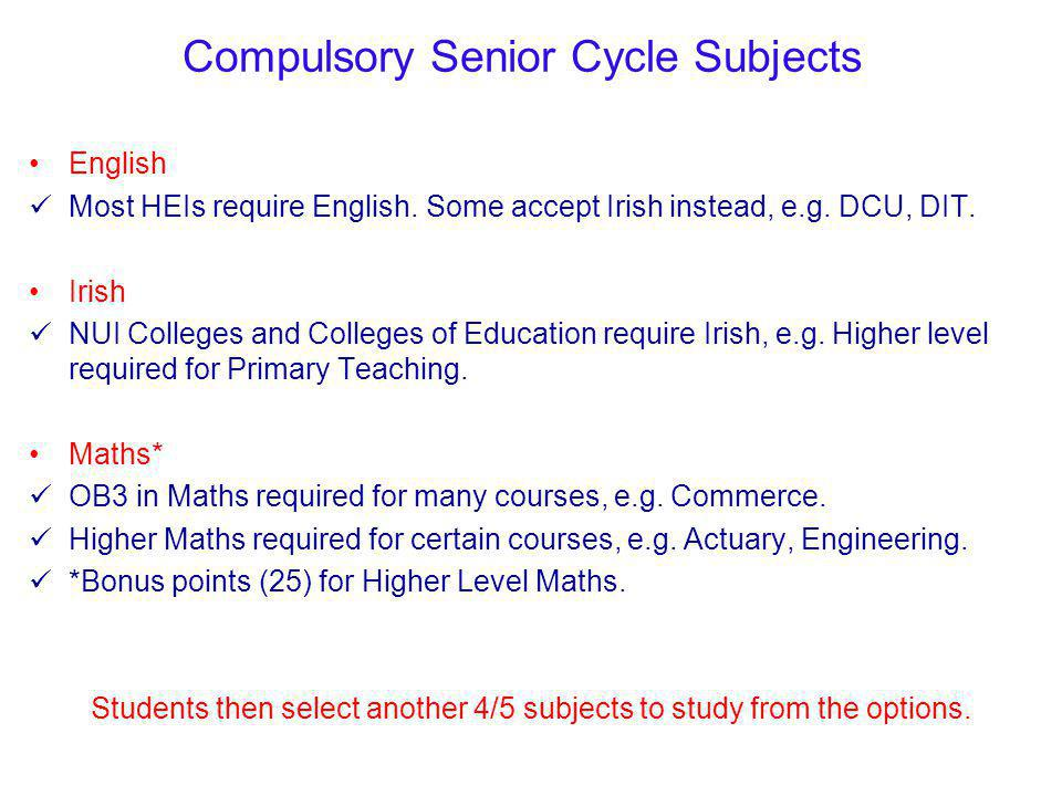 Please consult the Subject Choice for Senior Cycle 2014/2015 Booklet for a detailed description of each optional Senior Cycle Subject.