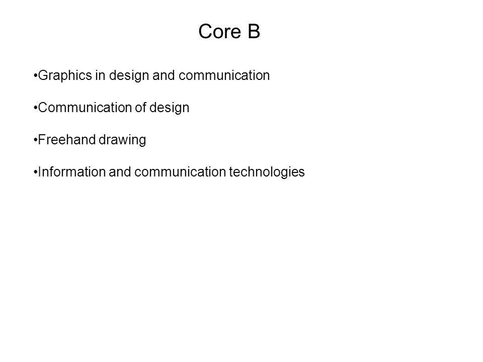 Core B Graphics in design and communication Communication of design Freehand drawing Information and communication technologies