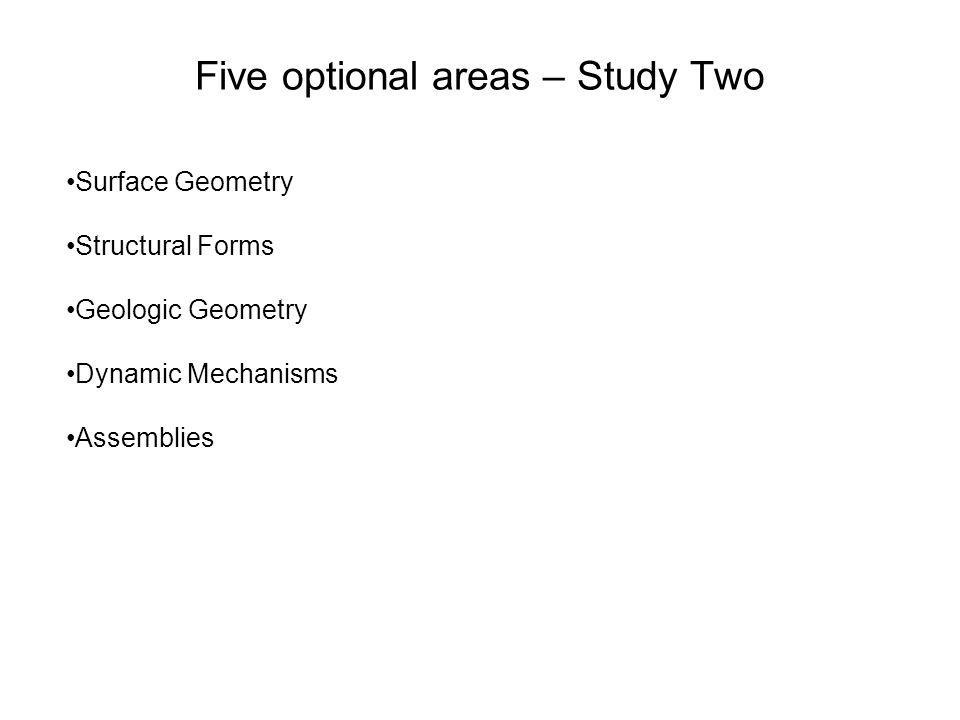 Five optional areas – Study Two Surface Geometry Structural Forms Geologic Geometry Dynamic Mechanisms Assemblies