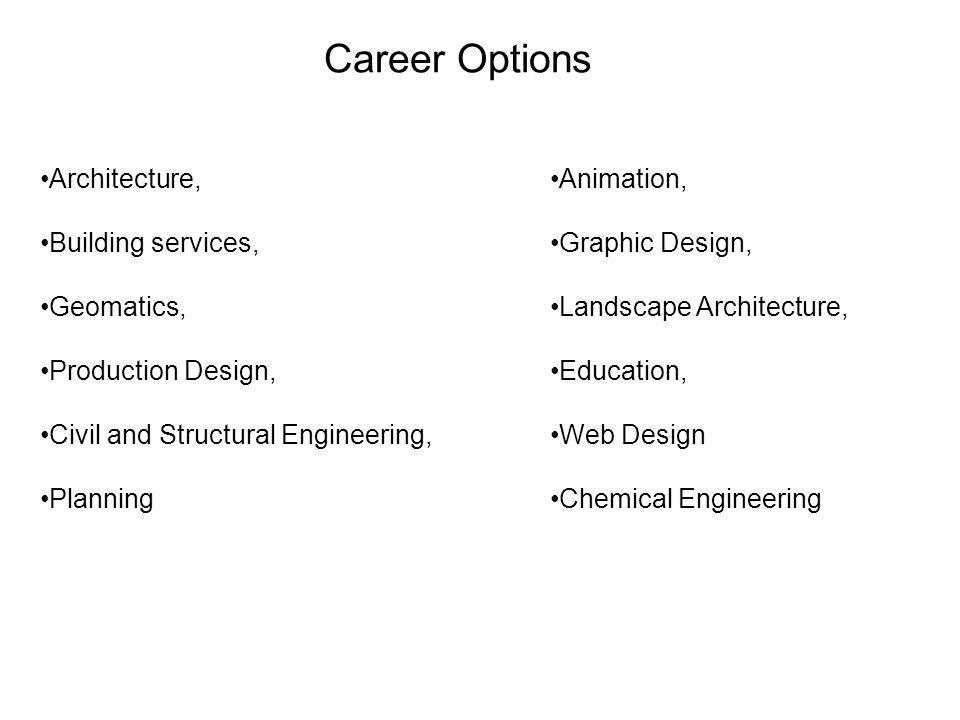 Career Options Architecture, Building services, Geomatics, Production Design, Civil and Structural Engineering, Planning Animation, Graphic Design, La