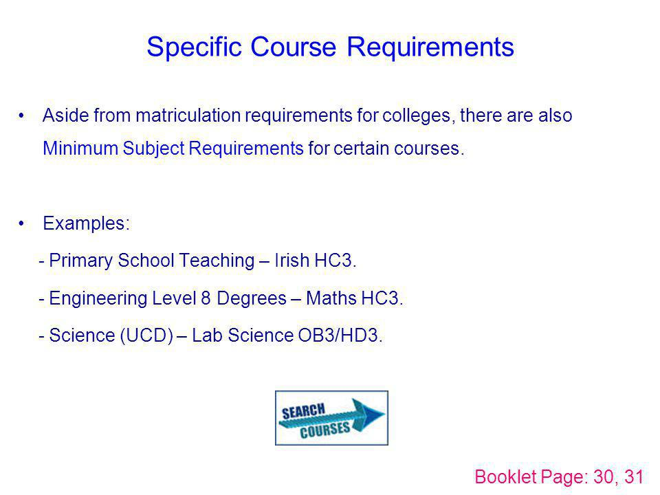 Specific Course Requirements Aside from matriculation requirements for colleges, there are also Minimum Subject Requirements for certain courses. Exam