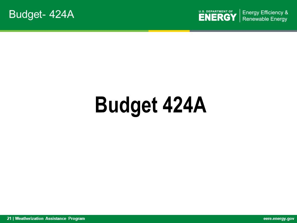 21 | Weatherization Assistance Programeere.energy.gov Budget- 424A Budget 424A