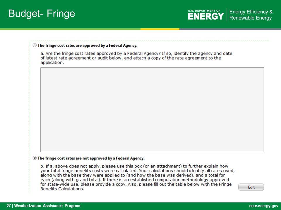 27 | Weatherization Assistance Programeere.energy.gov Budget- Fringe