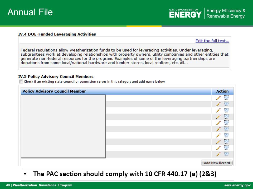 40 | Weatherization Assistance Programeere.energy.gov Annual File The PAC section should comply with 10 CFR 440.17 (a) (2&3)