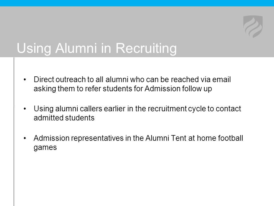 Using Alumni in Recruiting Direct outreach to all alumni who can be reached via email asking them to refer students for Admission follow up Using alum