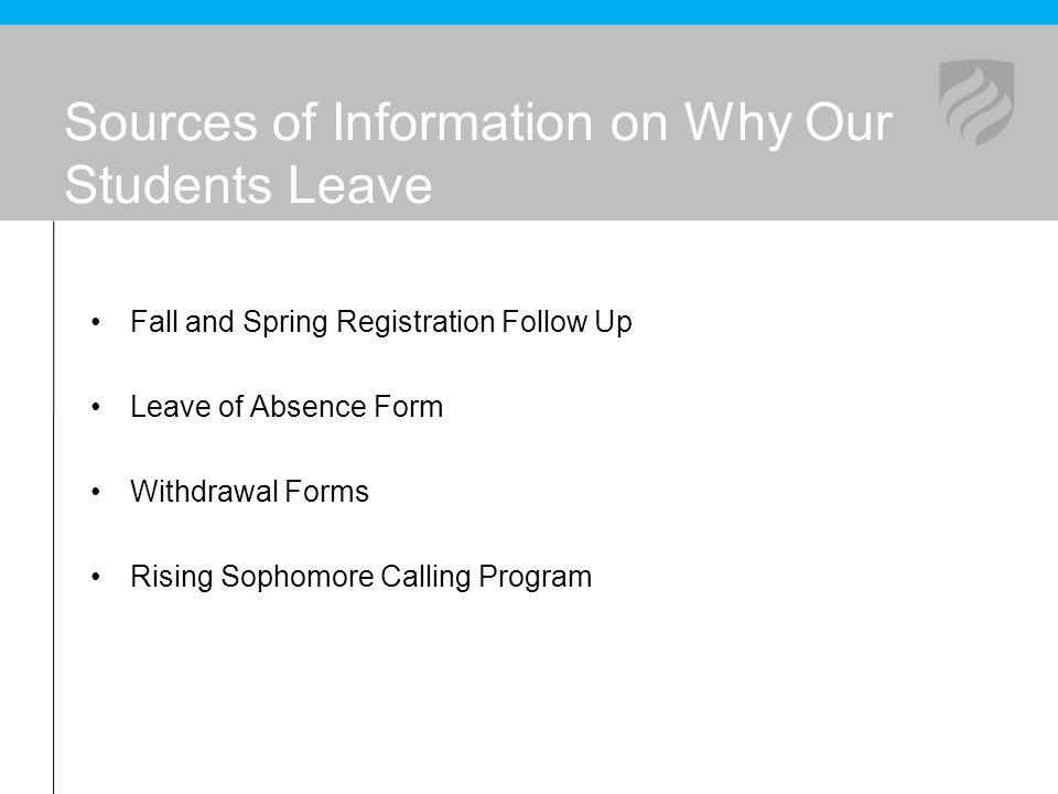 Sources of Information on Why Our Students Leave Fall and Spring Registration Follow Up Leave of Absence Form Withdrawal Forms Rising Sophomore Callin