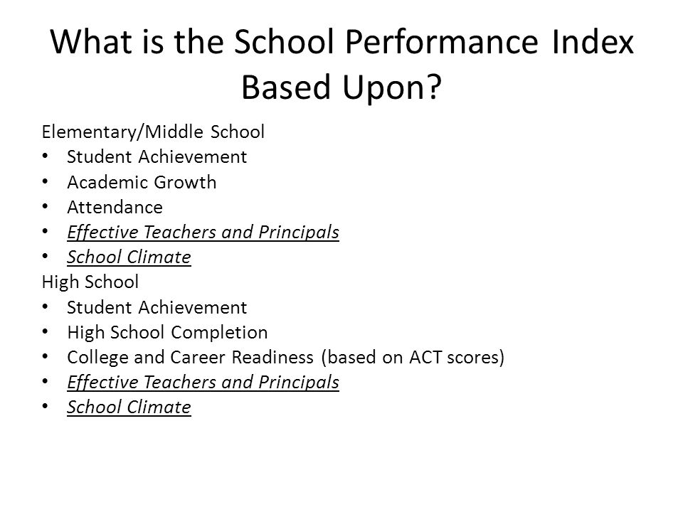 What is the School Performance Index Based Upon.