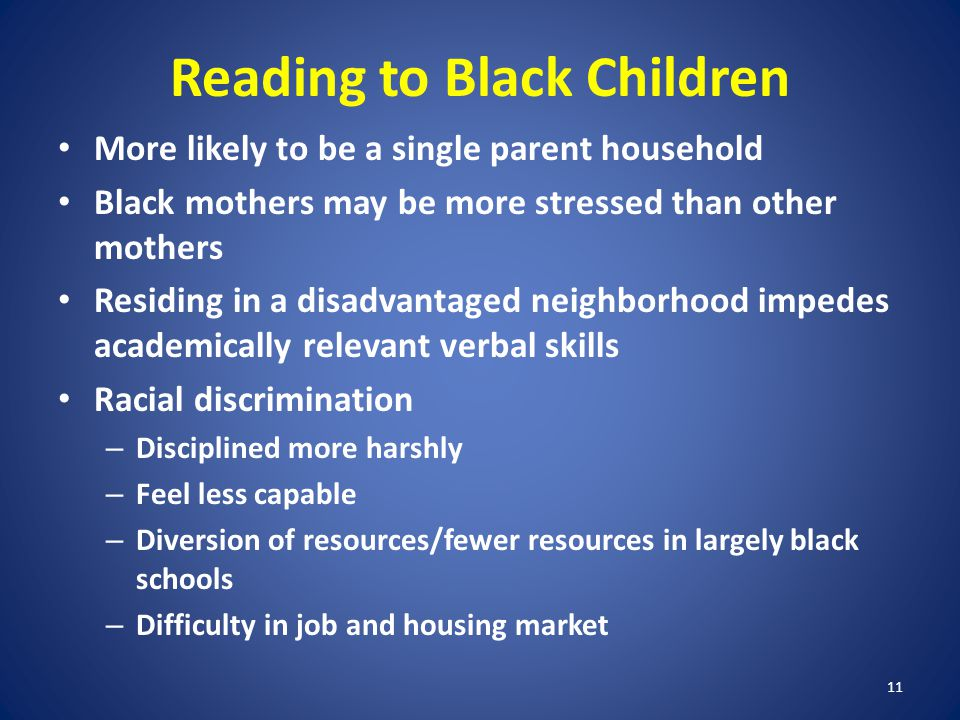 11 Reading to Black Children More likely to be a single parent household Black mothers may be more stressed than other mothers Residing in a disadvantaged neighborhood impedes academically relevant verbal skills Racial discrimination – Disciplined more harshly – Feel less capable – Diversion of resources/fewer resources in largely black schools – Difficulty in job and housing market