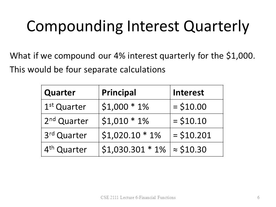 CSE 2111 Lecture 6-Financial Functions7