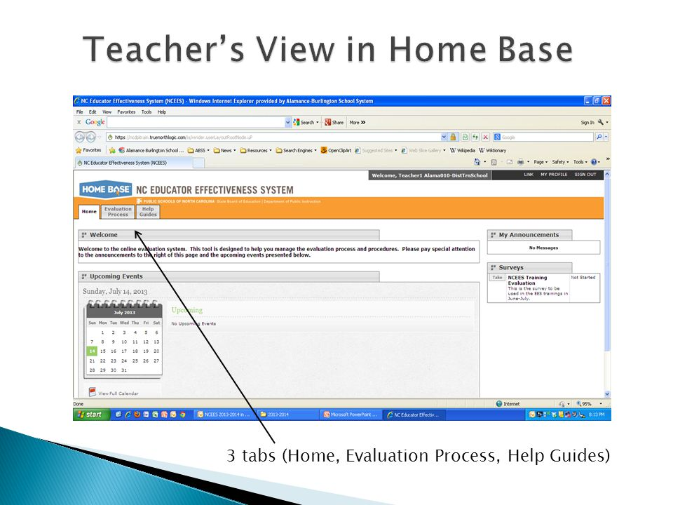 Teachers View in Home Base 3 tabs (Home, Evaluation Process, Help Guides)