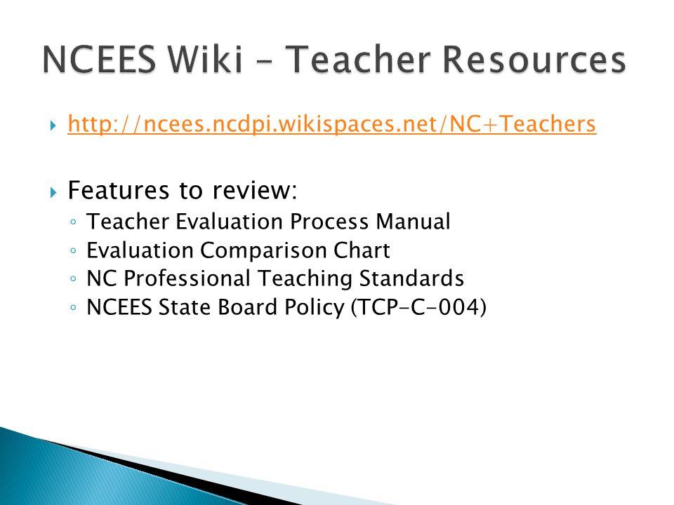 http://ncees.ncdpi.wikispaces.net/NC+Teachers Features to review: Teacher Evaluation Process Manual Evaluation Comparison Chart NC Professional Teachi