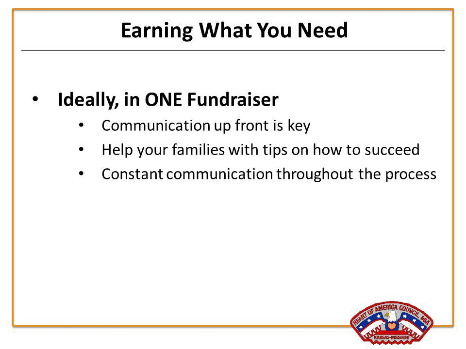 Earning What You Need Ideally, in ONE Fundraiser Communication up front is key Help your families with tips on how to succeed Constant communication t