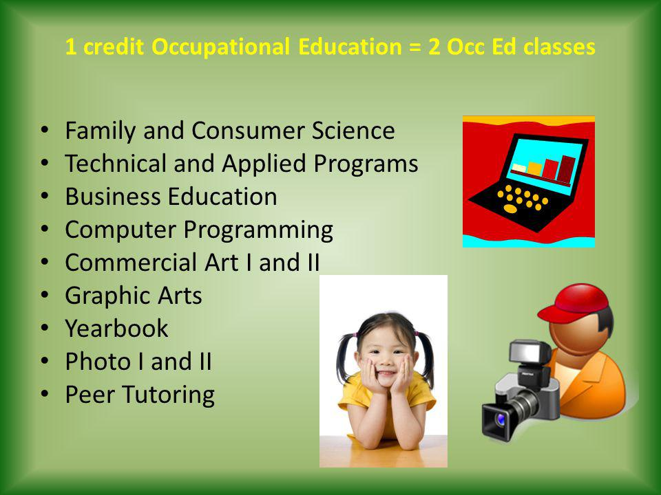 1 credit Occupational Education = 2 Occ Ed classes Family and Consumer Science Technical and Applied Programs Business Education Computer Programming