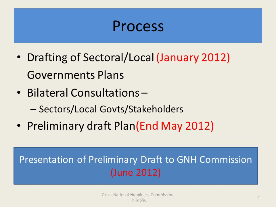 Process Gross National Happiness Commission, Thimphu 4 Drafting of Sectoral/Local (January 2012) Governments Plans Bilateral Consultations – – Sectors/Local Govts/Stakeholders Preliminary draft Plan(End May 2012) Presentation of Preliminary Draft to GNH Commission (June 2012)