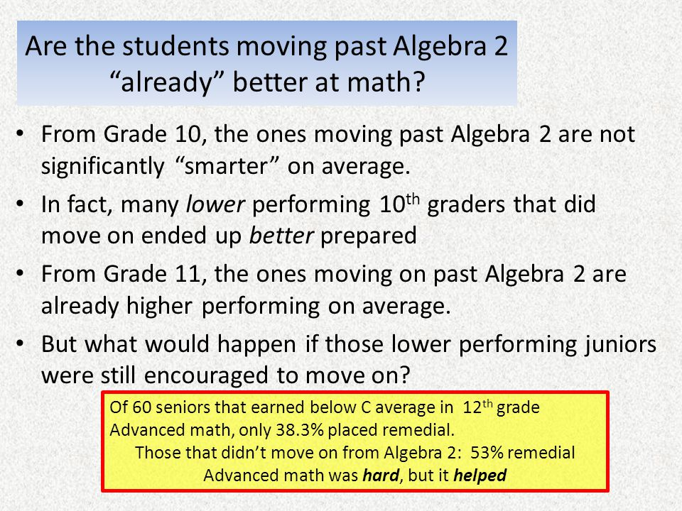 Are the students moving past Algebra 2 already better at math? From Grade 10, the ones moving past Algebra 2 are not significantly smarter on average.