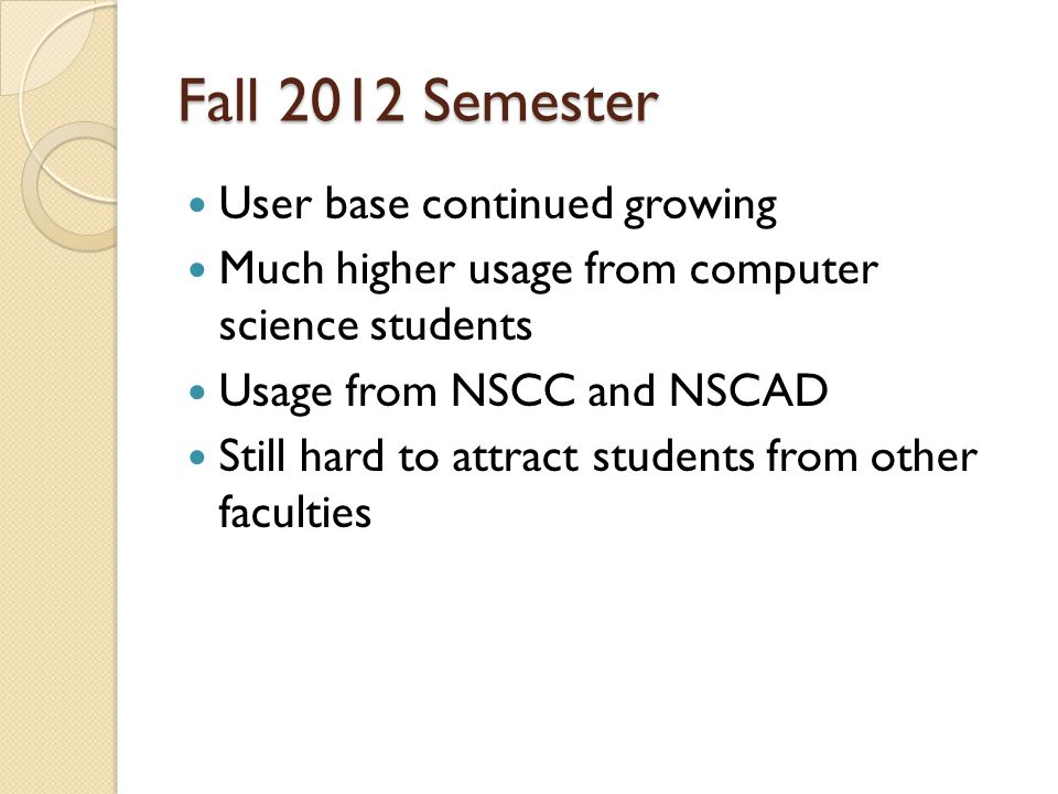 Fall 2012 Semester User base continued growing Much higher usage from computer science students Usage from NSCC and NSCAD Still hard to attract students from other faculties